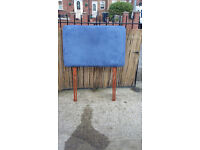 blue padded headboard for single bed
