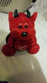 Love you devil teddy bear plush figure