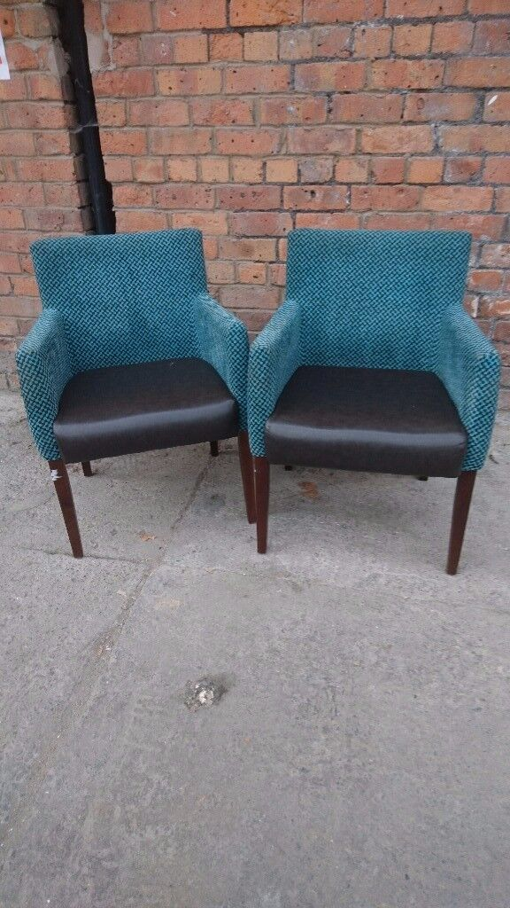 Two retro occasional chairs in teal /brown
