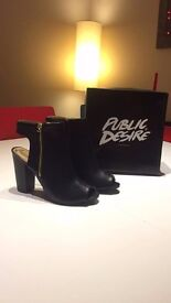 NEW - Black SIZE 7 - open toed heeled boots, 4 inches.