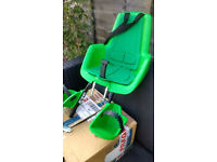 Green Bobike Mini+ Classic child bike seat, with spare adapter; excellent condition