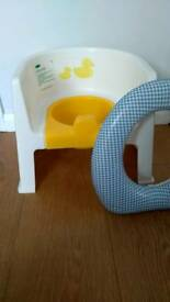 Potty chair and toilet seat