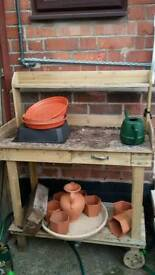 Wooden potting trolly
