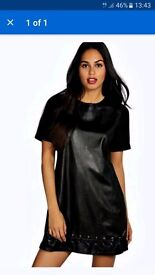 Boohoo leather ladies shift dress brand new with tags