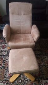 Swivel Recliner with Footstool ArmChair /Office/Gaming Colour Tan