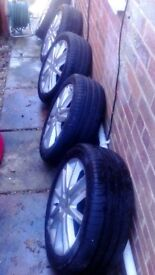 5 Alloy Wheels(4 with virtually new tyres) 4 stud 205/50/ZR15