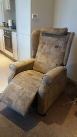 Beige Floral Riser Reclining Electric Mobility Armchair