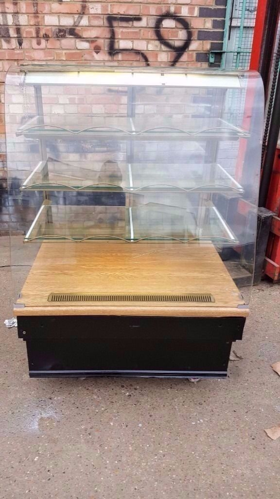 Patisserie Coffee Counter Display Fridge Curve Glass Cake Sandwich Bakery