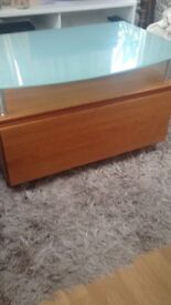 Teak TV table with glass top