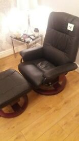 leather reclining massage chair with footstool