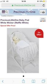 Wicker Moses Basket in White and Standing Frame.