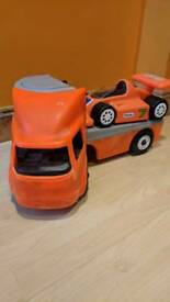 Rare little tikes 70/80s Car transporter and racing car.