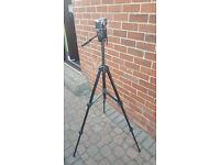 Black Miranada pro video1 adjustable tripod with camera attachment