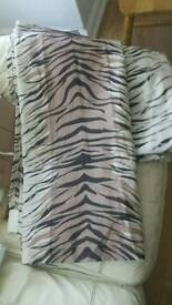 Cream and brown zebra pattern curtains unlined size 66x74 inch