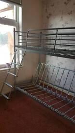 Grey metal metal frame bunk