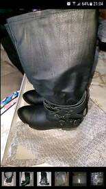 Head Over Heels Tiffanie Black Buckle Strap Boots size 6.5