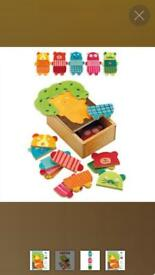 Wooden puzzle mix and match for toddlers