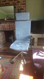 Directors chair, blue suede, excellent condition