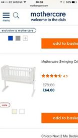Mothercare white swinging crib with SAFEseal mattress