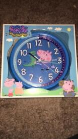 Brand new Peppa Pig GEORGE Pig blue children's bedroom clock