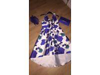White & Cobalt Blue Floral dress Size 10/12