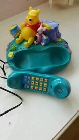 DISNEY WINNIE THE POOH/ PIGLET COLLECTABLE HOME PHONE WITH SMALL MATCHING ALARM CLOCK