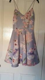 Grey/lilac floral dress, worn once.