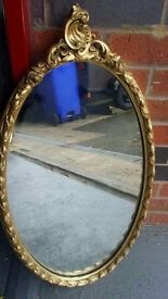 Antique gold guilded carved rococo mirror £14.99