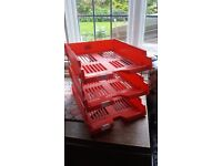 3 stacking office letter trays with metal rod risers