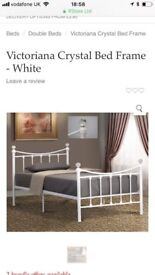 Single White metal crystal bed frame