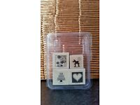 STAMPIN UP WOOD MOUNTED RUBBER STAMPS