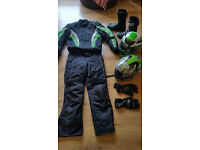 Bike Gear, Jacket jeans suit, helmet and boots.