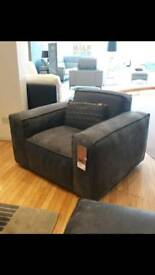 Large grey leather chair