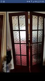 2 sets double doors and 3 individual doors, frosted patterned glass