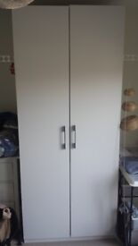 Ikea tall white wardrobe with its accessories