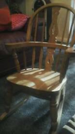 Kids solid pine rocking chair