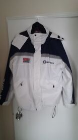 Mens Coat - Ocean Pacific, size L, navy/grey/white, padded