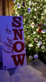 Large solid wooden Christmas sign