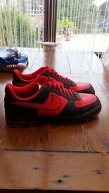 nike id air force 1 size 10 red and black excellent condition