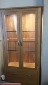 Oak Wood Display Cabinet with Lights Mint Condition, Hardly Used