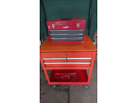 Tool Trolley / Chest on Wheels with Draws and smaller tool box with sliding trays. Good condition.