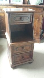 Dark wood telephone table with 3 drawers.
