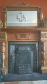 Carved wood fireplace surround