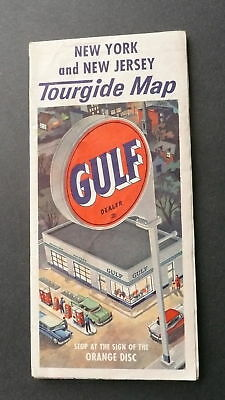 1960 New York New Jersey road map Gulf oil Long Island