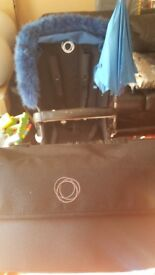 Bugaboo Buffalo with organiser,leather Storksak bag,parasol,spare hood set, hp footmuff,cup holder