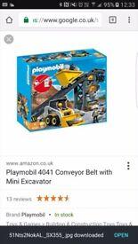 Play Mobil conveyor belt with mini excavator