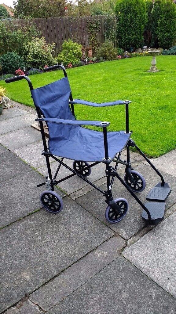 Lightweight Folding Transport Chair/Wheelchair with Carry Bag