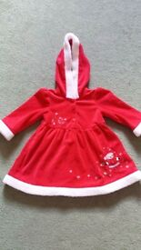 Red christmas dress with hood.