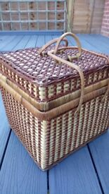 wicker picnic basket with gingham lining
