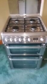 Dual Fuel Gas Elecrtic 60 cm wide Stainless Still Hotpoint Ultima Eco Tech Cooker